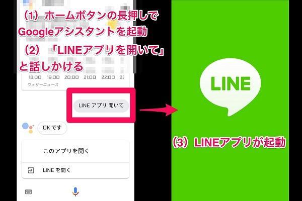 Line google アシスタント で